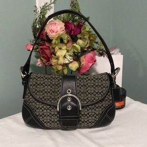 Black and gray coach bag